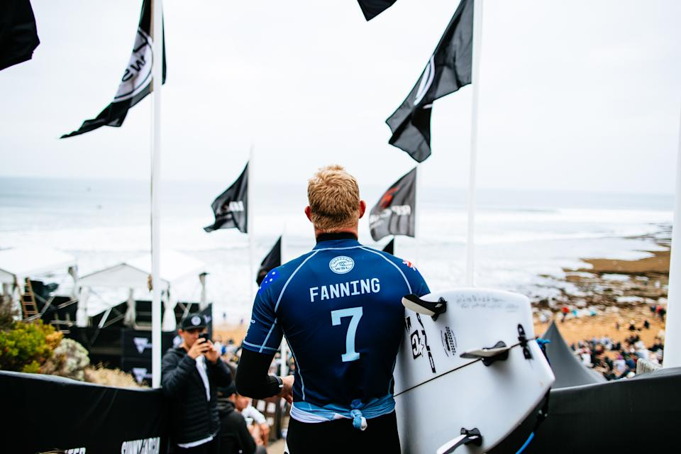 Mick Fanning of Australia prior to his Semifinal heat at the Rip Curl Pro, Bells Beach, 2018.
