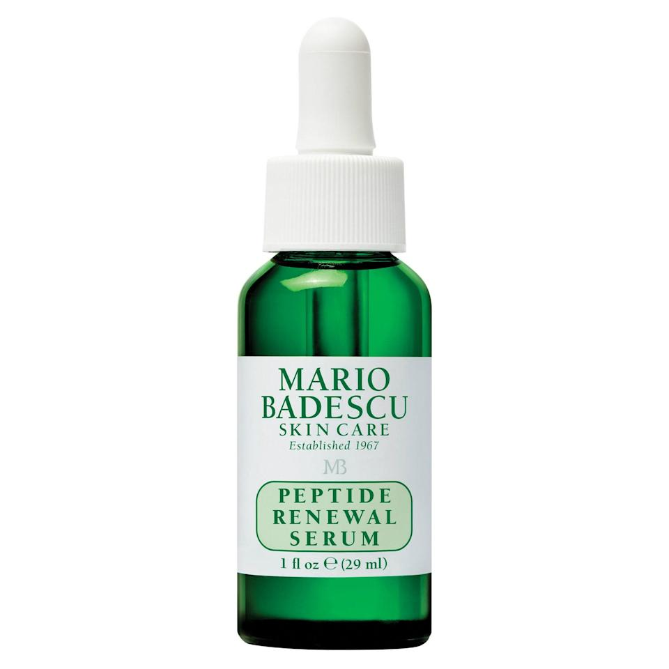 In addition to providing hydration benefits to the skin, peptides can be a real tour de force when it comes to giving an instantly plumped and radiant effect to the skin. Mario Badescu's fan-favorite Peptide Renewal Serum contains the hero ingredient, plus chamomile extract, aloe vera, and green tea for a botanical boost.