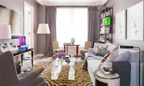 """<p>In this eclectic living room designed by <a href=""""https://www.pinkwaterselect.com/"""" rel=""""nofollow noopener"""" target=""""_blank"""" data-ylk=""""slk:Royce Pinkwater"""" class=""""link rapid-noclick-resp"""">Royce Pinkwater</a>, a misty lilac color on the walls and curtains helps ground lively animal prints and sculptural furniture items. The soft purple is subtle enough to function as a neutral and also has a somewhat sweet nature to it so the room doesn't feel too over the top.</p>"""