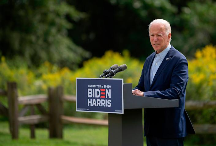 Democratic presidential candidate Joe Biden speaks outside the Delaware Museum of Natural History in Greenville on Sept. 14, 2020. Biden spoke about the ongoing wildfires and the urgent need to address the climate crisis.