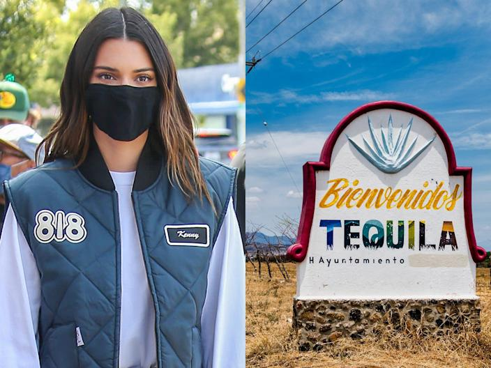 Kendall Jenner wearing an 818 tequila vest and a