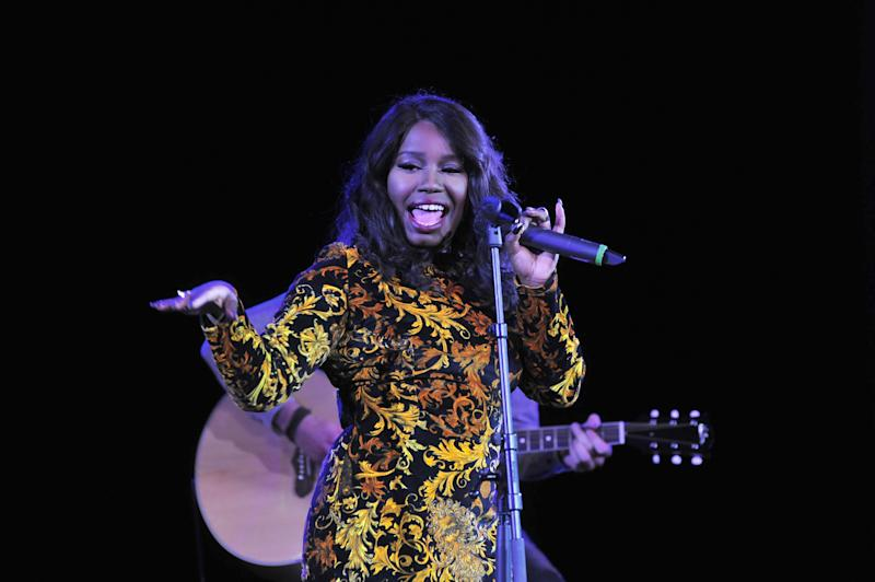 Misha B performs during the JLS Foundation OJAM in aid of Cancer Research UK at Battersea Evolution in London on June 6th, 2013 (Photo by Jon Furniss/Invision/AP Images)