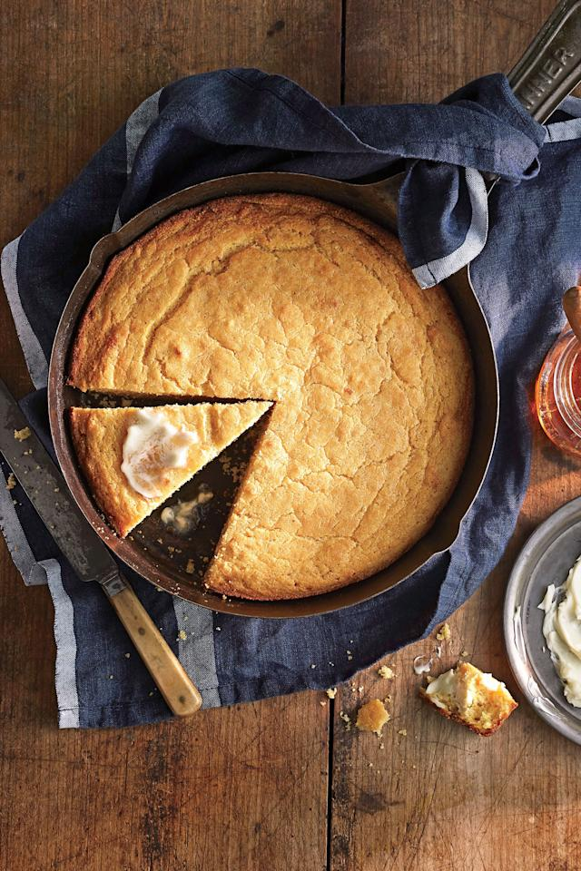 """<p><strong>Recipe: <a href=""""https://www.southernliving.com/recipes/ben-mims-perfect-cornbread"""">Ben Mims' Perfect Cornbread</a></strong></p> <p> The secret to the perfect cornbread is cooking it in a cast iron skillet and browning the butter.</p>"""