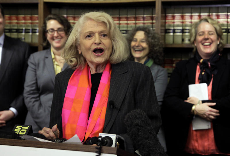 Edith Windsor addresses a news conference at the offices of the New York Civil Liberties Union, in New York,  Thursday, Oct. 18, 2012. A federal appeals court in Manhattan has become the second in the nation to strike down the Defense of Marriage Act as unconstitutional. The ruling came in a case brought by Windsor. She sued the government in November 2010 because she was told to pay $363,053 in federal estate tax after her partner of 44 years, Thea Spyer, died in 2009. They had married in Canada in 2007.. (AP Photo/Richard Drew)