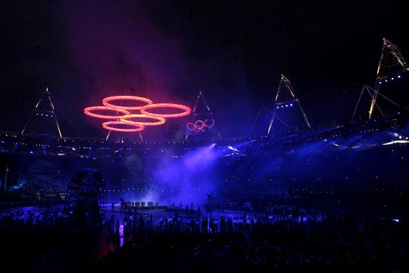 Olympic Rings rise over Olympic Stadium during the 'Isles of Wonder' Opening Ceremony of the 2012 Summer Olympic Games held in London, England held on July 27, 2012 -- (Photo by: Paul Drinkwater/NBC/NBC Photo Bank)