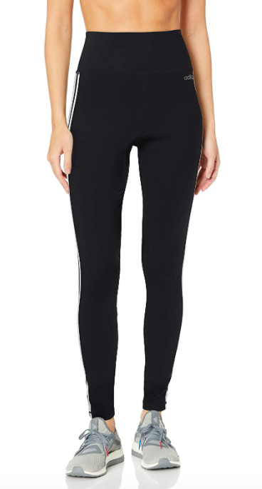 adidas Women's Designed 2 Move 3-Stripes High-Rise Long Tights