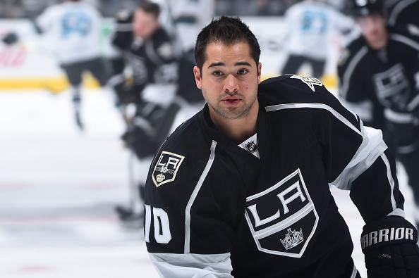 LOS ANGELES, CA - NOVEMBER 30: Devin Setoguchi #10 of the Los Angeles Kings looks on before a game against the San Jose Sharks at STAPLES Center on November 30, 2016 in Los Angeles, California. (Photo by Juan Ocampo/NHLI via Getty Images)