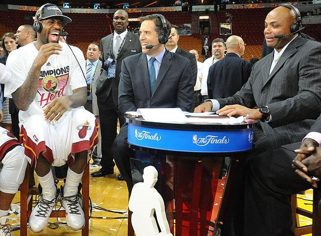 LeBron James appears on the NBA TV set with Charles Barkley after 2012 NBA Finals. (Getty Images)
