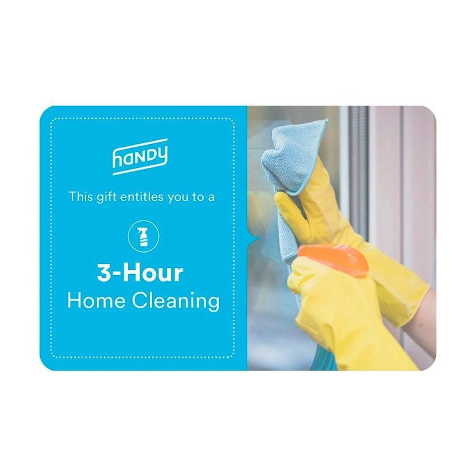 """<p><strong>Handy</strong></p><p>shop.handy.com</p><p><strong>$99.00</strong></p><p><a href=""""https://shop.handy.com/collections/gift-cards"""" rel=""""nofollow noopener"""" target=""""_blank"""" data-ylk=""""slk:Shop Now"""" class=""""link rapid-noclick-resp"""">Shop Now</a></p><p>If they're planning a loved one's funeral, we'd assume that household chores are probably the last thing on their mind right now. Consider gifting them a 3-hour house cleaning through Handy to lift an immense burden off of their shoulders. </p><p>You can buy multiple cleanings at a time or gift them specific services like TV mounting, picture and shelf hanging, and furniture assembly.</p><p>Handy also has <a href=""""http://try.handy.com/safety/"""" rel=""""nofollow noopener"""" target=""""_blank"""" data-ylk=""""slk:safety protocols in place"""" class=""""link rapid-noclick-resp"""">safety protocols in place</a> to keep their professionals and your gift recipient safe during the housework session.</p>"""