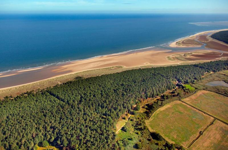 Holkham bay and pinewoods from the air.
