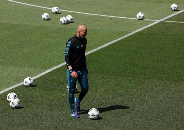 Soccer Football - Champions League - Real Madrid Training - Real Madrid City, Madrid, Spain - May 22, 2018 Real Madrid coach Zinedine Zidane during training REUTERS/Sergio Perez