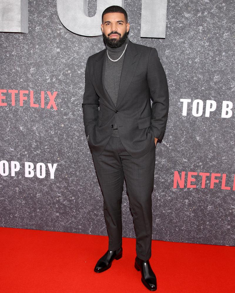 Drake hits the Top Boy premiere dressed as—what else?—the top boy.