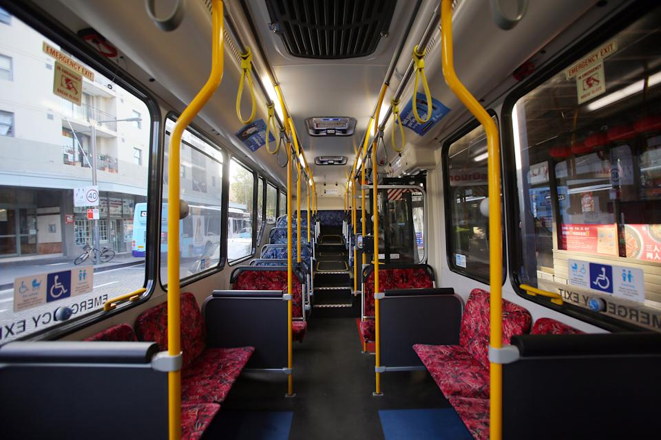 The inside of a public bus is seen empty, after an outbreak of the coronavirus disease (COVID-19), in Sydney.