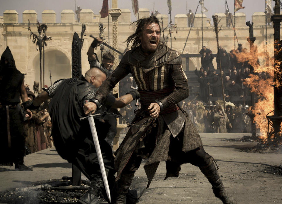 "This image released by 20th Century Fox shows Michael Fassbender as Callum Lynch in a scene from ""Assassin's Creed.,"" a film based on the video game series. (Kerry Brown/20th Century Fox via AP)"