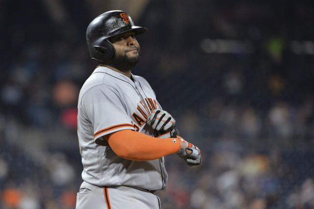"<a class=""link rapid-noclick-resp"" href=""/mlb/players/8326/"" data-ylk=""slk:Pablo Sandoval"">Pablo Sandoval</a>'s return to the Giants hasn't gone well. (AP Photo/Orlando Ramirez)"