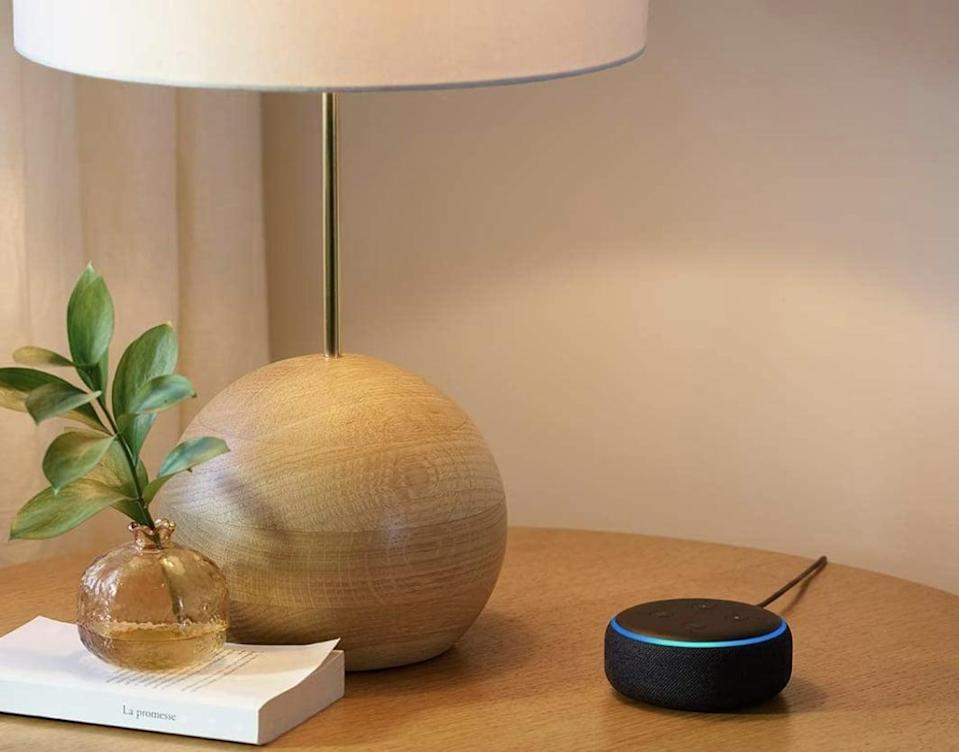 <p>If your guy is into technology, gift them a <span>Echo Dot Smart Speaker with Alexa</span> ($40) so they can listen to podcasts, hear what's on their calendar for the day, and even make phone calls.</p>