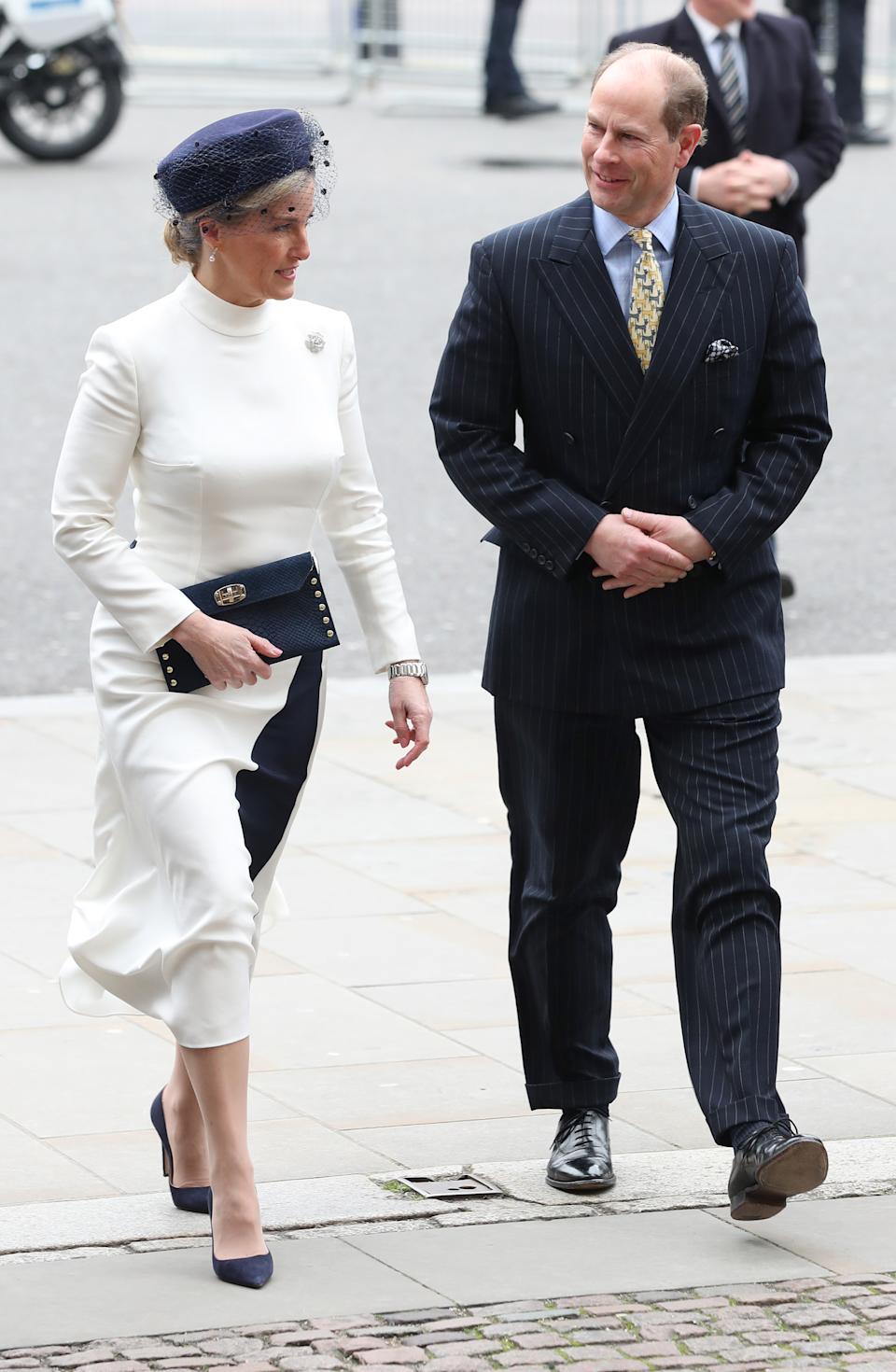 The Earl and Countess of Wessex arrive at the Commonwealth Service at Westminster Abbey, London on Commonwealth Day. The service is the Duke and Duchess of Sussex's final official engagement before they quit royal life. (Photo by Yui Mok/PA Images via Getty Images)