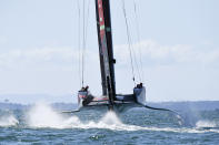 Team New Zealand sails against Italy's Luna Rossa during race 5 of the America's Cup on Auckland's Waitemata Harbour, New Zealand, Saturday, March 13, 2021. (Chris Cameron/Photosport via AP)