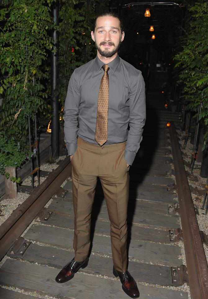 """NEW YORK, NY - AUGUST 13:  Actor Shia LaBbeouf attends the after party for The Cinema Society & Manifesto Yves Saint Laurent screening of The Weinstein Company's """"Lawless"""" at Gallow Green at the McKittrick Hotel on August 13, 2012 in New York City.  (Photo by Michael Loccisano/Getty Images)"""