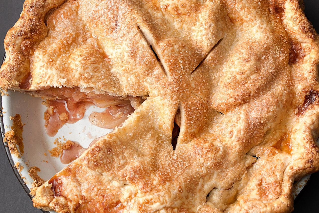 """For deep apple flavor, the fruit in this pie is macerated. The juice is then reduced to a syrup and returned to the filling, along with Chinese five spice powder (a blend of star anise, cinnamon, cloves, fennel, and Sichuan peppercorns). <a href=""""https://www.epicurious.com/recipes/food/views/classic-apple-pie?mbid=synd_yahoo_rss"""">See recipe.</a>"""