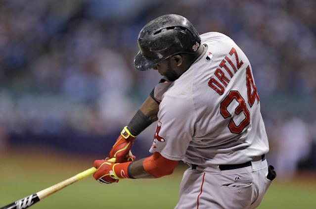 Boston Red Sox's David Ortiz connects for a double off Tampa Bay Rays starting pitcher Jeremy Hellickson during the first inning of a baseball game on Saturday, July 26, 2014, in St. Petersburg, Fla. (AP Photo/Chris O'Meara)