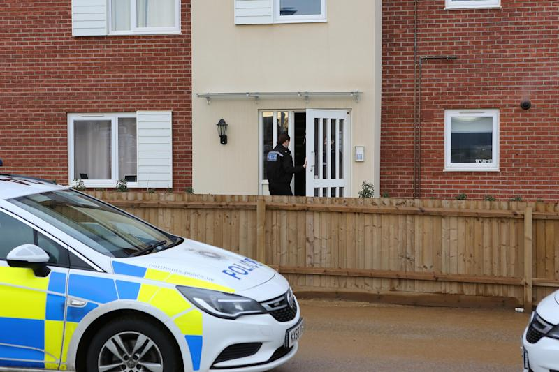 Police in Earls Barton. (Anita Maric/SWNS)