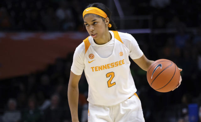 FILE - In this Jan. 24, 2019, file photo, Tennessee guard Evina Westbrook (2) brings the ball down court during an NCAA college basketball game against Notre Dame in Knoxville, Tenn. The former Tennessee guard has joined the Connecticut women's basketball team, UConn said Saturday, May 11, 2019. The 6-footer, who has two years of eligibility left, led the Lady Vols with 14.9 points and 5.3 assists a game last season while shooting 42 percent. (AP Photo/Shawn Millsaps, File)