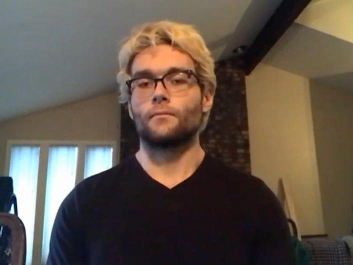 <p>Logan Smith, 20, talking about the Boulder mass shooting on Tuesday</p> ((NewsNationNow - YouTube))