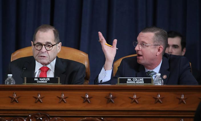 Republican House Judiciary Committee ranking member Doug Collins (R-GA) and commitee Chairman Rep. Jerrold Nadler (D-NY) debate the rules during a House Judiciary Committee hearing to receive counsel presentations of evidence on the impeachment inquiry into U.S. President Donald Trump on Capitol Hill in Washington on December 9, 2019.  (Photo: Jonathan Ernst/Pool/Reuters)