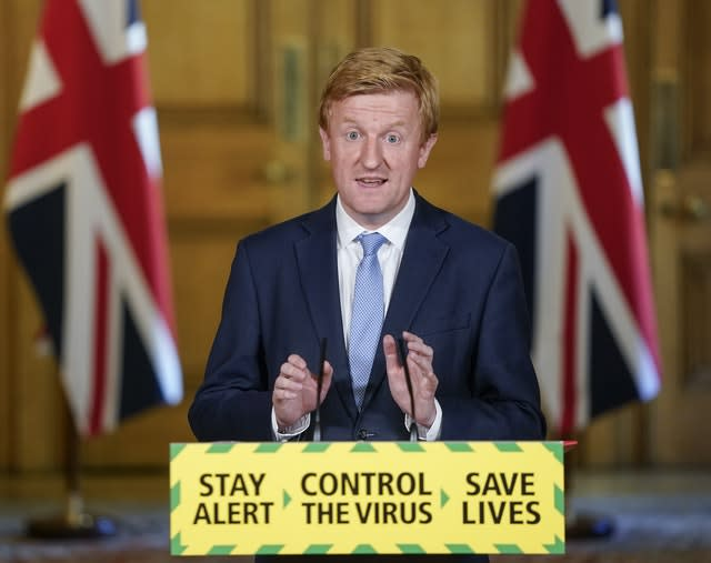 Culture Secretary Oliver Dowden announced on Saturday that elite sport events would begin again next week behind closed doors (Andrew Parsons/10 Downing Street/Crown Copyright/PA)