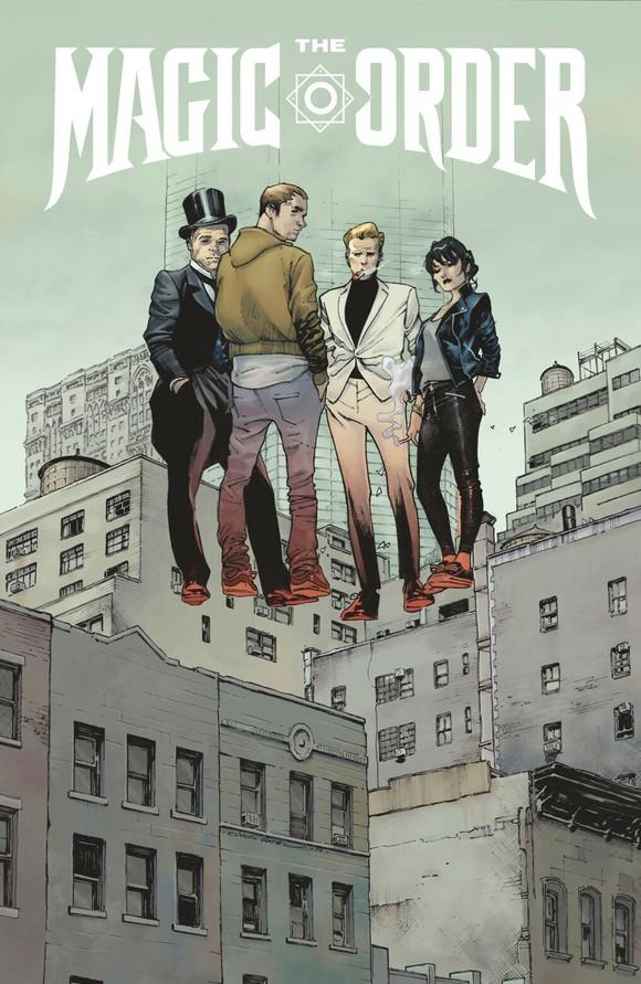 The cover of the comic book The Magic Order, which shows four people levitating above an industrial area of a city