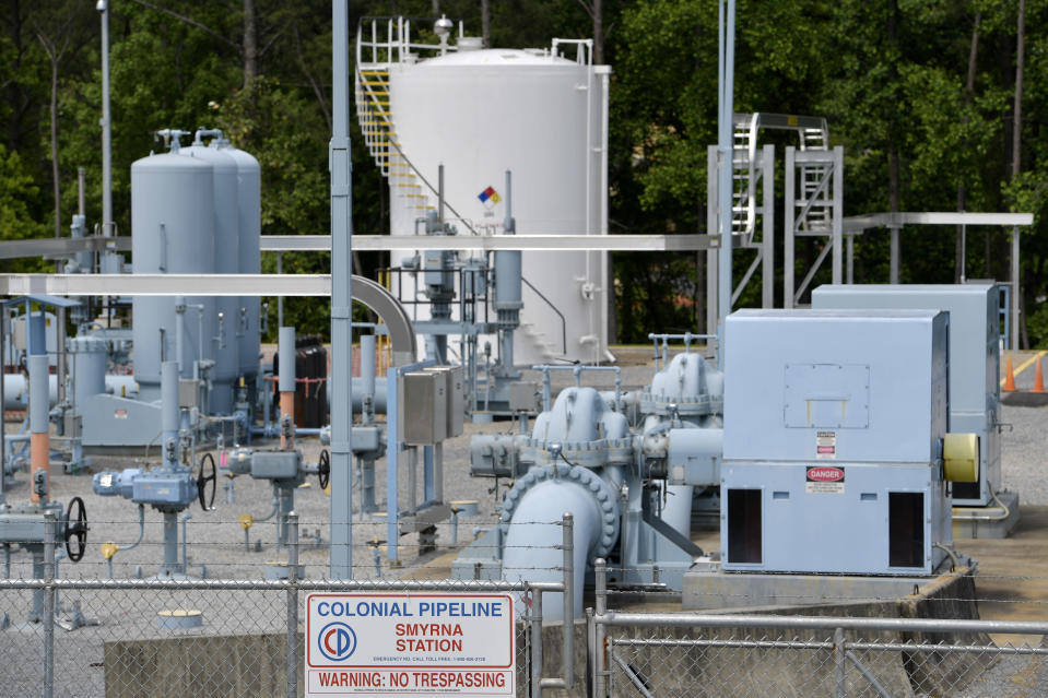 File - In this May 11, 2021 file photo, a Colonial Pipeline station is seen in Smyrna, Ga., near Atlanta. The Department of Homeland Security has announced new requirements for U.S. pipeline operators to bolster cybersecurity following a May ransomware attack that disrupted gas delivery across the East Coast.(AP Photo/Mike Stewart)