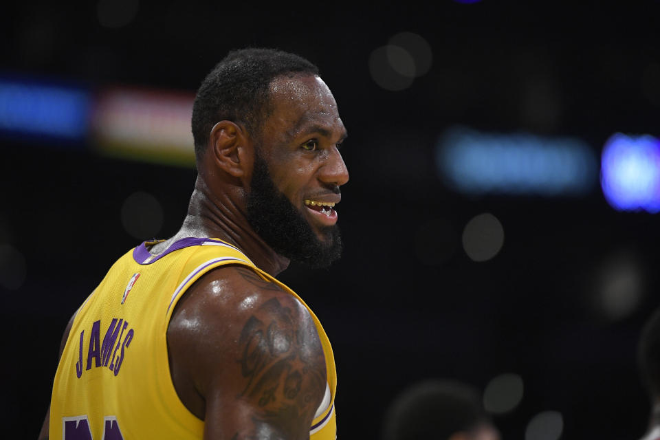 LeBron James in a Los Angeles Lakers jersey smiles.