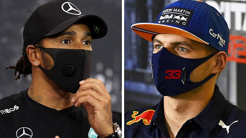 A 50-50 split image shows Lewis Hamilton on the left and Max Verstappen on the right.