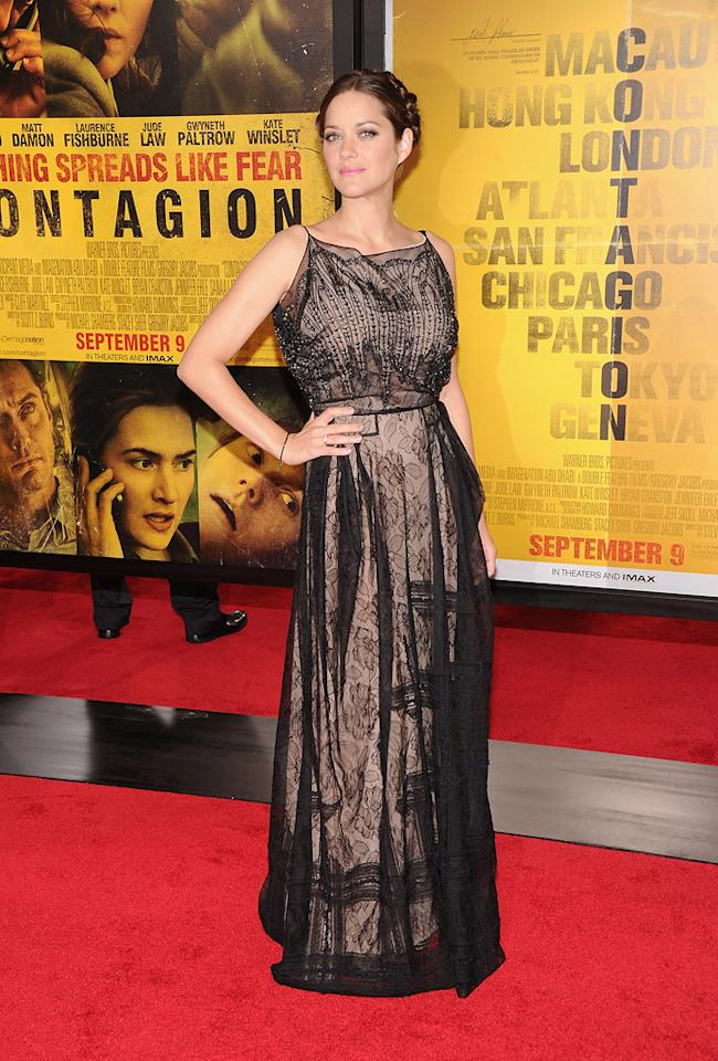 """<a href=""""http://movies.yahoo.com/movie/contributor/1800277300"""">Marion Cotillard</a> at the New York City premiere of <a href=""""http://movies.yahoo.com/movie/1810161340/info"""">Contagion</a> on September 7, 2011."""