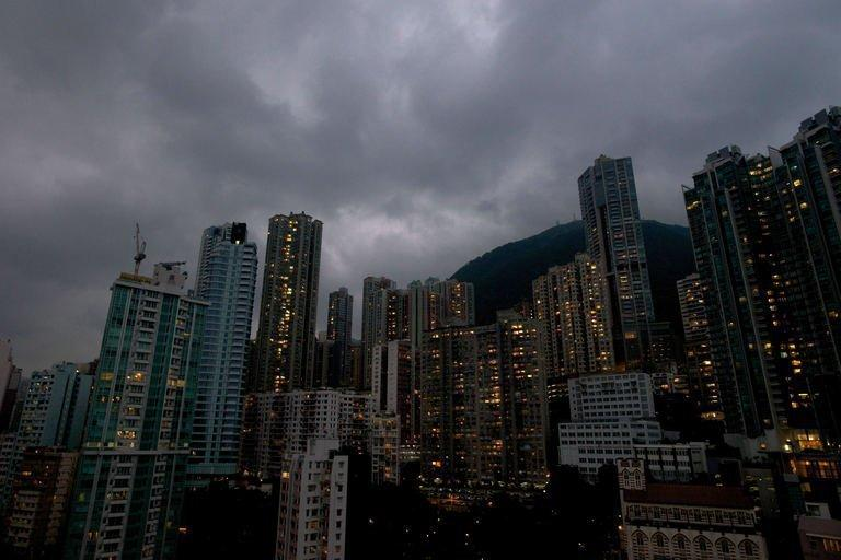 Dark clouds gather over Hong Kong as Typhoon Usagi approaches the territory on September 22, 2013