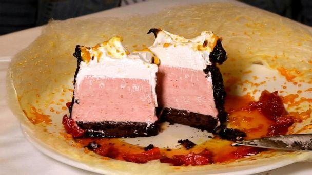 PHOTO: Inside the cotton candy baked Alaska is chocolate cake, topped with semifreddo and Swiss meringue. (ABC News)