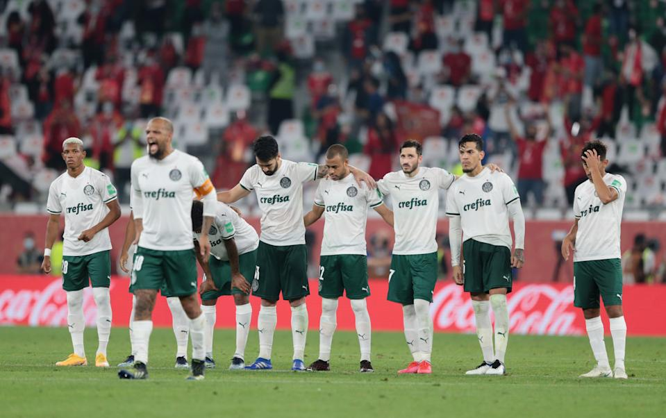 Soccer Football - Club World Cup - Third Place Play Off - Al Ahly v Palmeiras - Education City Stadium, Al Rayyan, Qatar - February 11, 2021 Palmeiras players line up before the penalty shoot out REUTERS/Mohammed Dabbous