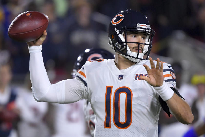 Chicago Bears quarterback Mitchell Trubisky said his hip is feeling better after leaving Sunday's game against the Rams. (AP/Mark J. Terrill)