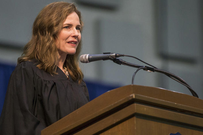 In this May 19, 2018, photo, Amy Coney Barrett, United States Court of Appeals for the Seventh Circuit judge, speaks during the University of Notre Dame's Law School commencement ceremony at the University of Notre Dame in South Bend, Ind. Barrett is on President Donald Trump's list of potential Supreme Court Justice candidates to fill the spot vacated by retiring Justice Anthony Kennedy. (Robert Franklin/South Bend Tribune via AP)