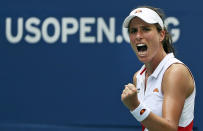 Britain's Johanna Konta, pumps her fist after winning a point against Karolina Pliskova, of the Czech Republic, during round four of the US Open tennis championships Sunday, Sept. 1, 2019, in New York. (AP Photo/Kevin Hagen)