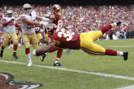 <p>Washington Redskins running back Samaje Perine (32) dives into the end zone for a touchdown during the first half of an NFL football game against the San Francisco 49ers in Landover, Md., Sunday, Oct. 15, 2017. (AP Photo/Pablo Martinez Monsivais) </p>