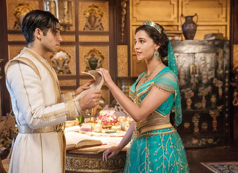 """<p>In the live-action adaptation of the classic Disney love story, petty thief Aladdin befriends a genie and wishes to become a prince to charm Princess Jasmine. However, dangerous sorcerer Jafar competes with him for Jasmine's hand in marriage. Aladdin and the genie work together to keep the empire from falling at the hands of Jafar's greed for power. </p> <p><a href=""""https://www.disneyplus.com/movies/aladdin/57QdIBthImk6"""" class=""""link rapid-noclick-resp"""" rel=""""nofollow noopener"""" target=""""_blank"""" data-ylk=""""slk:Watch Aladdin on Disney+ now."""">Watch <strong>Aladdin</strong> on Disney+ now.</a></p>"""