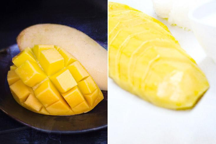 Cut your mangoes whichever way you prefer, be it cubes or slices.