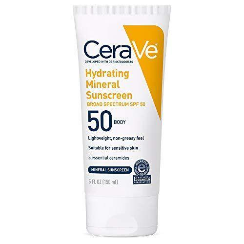 """<p><strong>CeraVe</strong></p><p>amazon.com</p><p><strong>$20.51</strong></p><p><a href=""""https://www.amazon.com/dp/B07KL7HPXV?tag=syn-yahoo-20&ascsubtag=%5Bartid%7C10072.g.36545377%5Bsrc%7Cyahoo-us"""" rel=""""nofollow noopener"""" target=""""_blank"""" data-ylk=""""slk:Shop Now"""" class=""""link rapid-noclick-resp"""">Shop Now</a></p><p>No one wants breakouts on their face, and no one wants breakouts on their body either. The solution: This oil-free non-comedogenic SPF with zinc oxide and titanium dioxide. What also makes the formula unique is that it includes ceramides (moisturizing fats found naturally in skin) as well as hyaluronic acid, sealing in water so skin stays supple. """"This is creamy but has a slightly lighter texture, making it perfect for summer,"""" says Markowitz.</p>"""