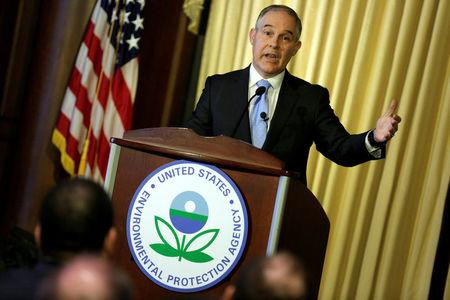 FILE PHOTO: Scott Pruitt, administrator of the Environmental Protection Agency (EPA), speaks to employees of the agency in Washington
