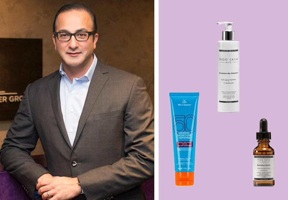 """<h1 class=""""title"""">dr akhavan; his favorite skin-care products on a purple background</h1><cite class=""""credit"""">Courtesy of Dr Akhavan/Brittany Theophilus</cite>"""