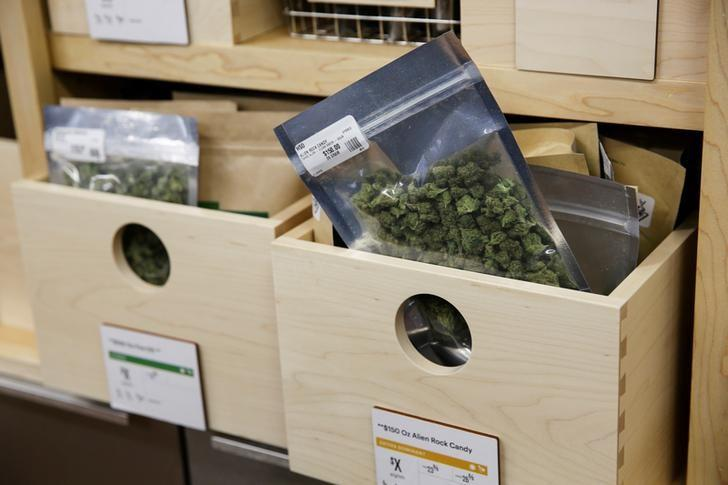FILE PHOTO: Marijuana is seen for sale at a dispensary in Oakland on the first day of legalized recreational marijuana sales in California