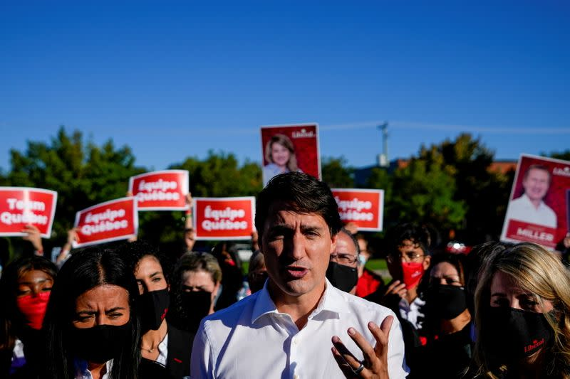 Canada's Prime Minister Justin Trudeau campaigns in Montreal, Quebec