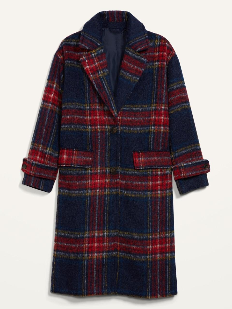 <p>We are absolutely in love with this <span>Oversized Soft-Brushed Plaid Button-Front Coat</span> ($78, originally $100).</p>